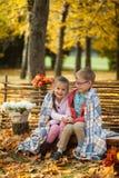 2 друз: мальчик и девушка в осени паркуют сидеть на деревянной скамье около загородки Стоковые Изображения