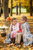 2 друз: мальчик и девушка в осени паркуют сидеть на деревянной скамье около загородки Стоковая Фотография RF