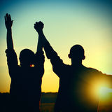 2 друз на заходе солнца Стоковое Изображение RF