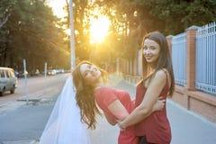 2 друз обнимая снаружи Стоковое Изображение RF