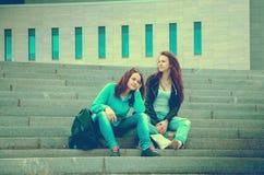 2 друз отдыхают на шагах Стоковые Изображения RF