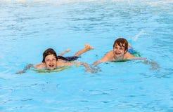 2 друз плавая в бассейне Стоковая Фотография