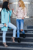 2 друз стоя на шагах Стоковое Изображение