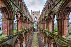 Руины аббатства Jedburgh в зоне границ Scottish в Scotla Стоковое Фото