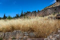 Руины археологических раскопок древнегреческия Дэлфи, Греции Стоковая Фотография