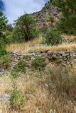 Руины археологических раскопок древнегреческия Дэлфи, Греции Стоковые Изображения