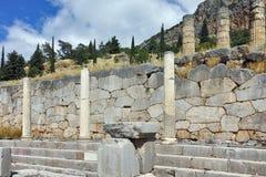 Руины археологических раскопок древнегреческия Дэлфи Стоковое Фото