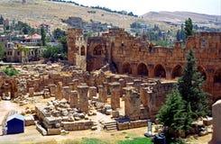 Руины бывшего города гелиополя, города баала бога, ба стоковое изображение