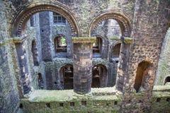 Руины двенадцатого века замка Rochester Замок и руины городищ Кент, юговосточная Англия Стоковое Изображение RF