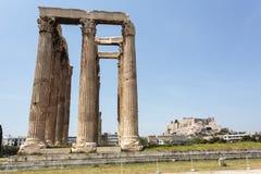 Руины виска Зевса олимпийца в Афинах, Греции Стоковые Фото