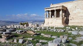 Руины виска Erechtheion на акрополе, Афина, Греции стоковое фото