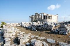 Руины виска Erechtheum на акрополе, Афинах, Греции Стоковые Изображения RF