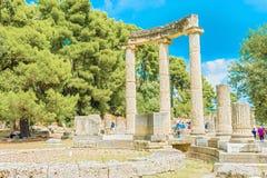 Руины виска Philipp в Олимпии, Греции Стоковое Фото