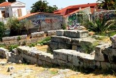 Руины в акрополе Афин, Греции стоковые фото