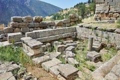 Руины в археологических раскопках древнегреческия Дэлфи Стоковое фото RF