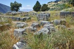 Руины в археологических раскопках древнегреческия Дэлфи Стоковое Фото
