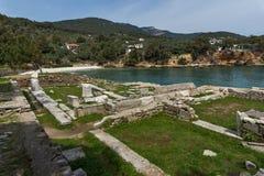 Руины в археологических раскопках Aliki, острове Thassos, Греции Стоковая Фотография RF