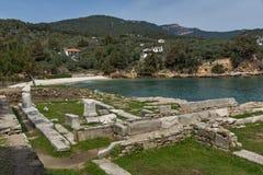 Руины в археологических раскопках Aliki, острове Thassos, Греции Стоковая Фотография