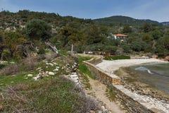 Руины в археологических раскопках Aliki, острове Thassos, Греции Стоковое Изображение RF