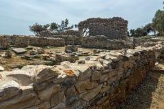 Руины в археологических раскопках Aliki, острове Thassos, Греции Стоковые Изображения