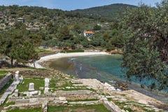 Руины в археологических раскопках Aliki, острове Thassos, Греции Стоковые Изображения RF