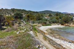 Руины в археологических раскопках Aliki, острове Thassos, Греции Стоковое Изображение