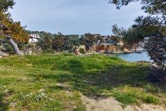 Руины в археологических раскопках Aliki, острове Thassos, Греции Стоковые Фото