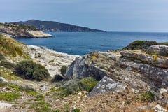 Руины в археологических раскопках Aliki, острове Thassos, Греции Стоковое Фото