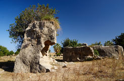 Руины в археологических усыпальницах парка королей, Paphos, Кипра Стоковое Фото