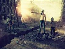 Руины города и мальчика иллюстрация штока