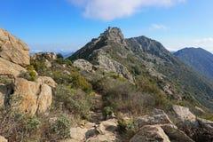 Руины гор тропы замка Испании Каталонии Стоковая Фотография RF