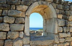 Руины древнего города Chersonesos, в Севастополе, Крым стоковое фото