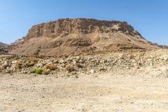 Руины древней крепости Massada на горе около мертвого моря в южном Израиле стоковое фото