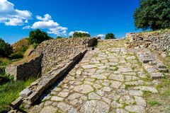 руины легендарного древнего города Троя Стоковая Фотография RF
