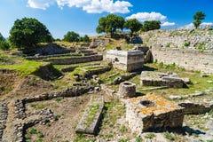 руины легендарного древнего города Троя Стоковое Фото