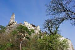 Руины замка в средневековой деревне Durnstein Стоковые Фото