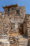 Руины здания на острове Spinalonga стоковое фото