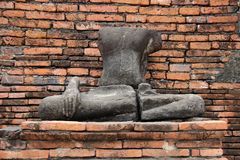 руины Исторический парк со старой статуей Будды камня стоковые фотографии rf