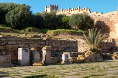Руины и городище в Chellah, Рабате, Марокко Стоковое Изображение RF