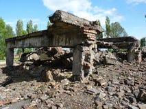 Руины крематориев в бывшем концентрационном лагере birkenau auschwitz Стоковое Изображение RF