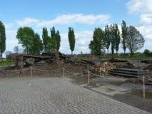 Руины крематориев в бывшем концентрационном лагере birkenau auschwitz Стоковые Изображения