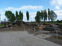 Руины крематориев в бывшем концентрационном лагере birkenau auschwitz Стоковая Фотография RF
