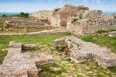 Руины крепости на headland Kaliakra, болгарской черноте стоковое изображение rf