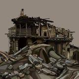 Руины мультфильма деревянного дома в камнях бесплатная иллюстрация