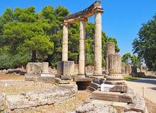 Руины на месте старой Олимпии в Греции стоковое изображение rf