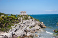 Руины на скалистом пляже в Tulum, Мексике Стоковое Фото