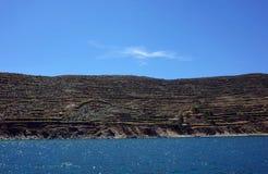 Руины на южном береге Isla del Sol на озере Titicaca Стоковые Изображения