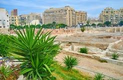 Руины объявления Dikka за кустарниками юкки, Александрии Kom, e Стоковое Фото
