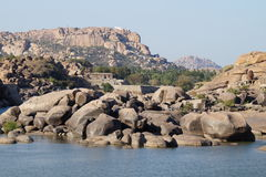Руины древнего города Vijayanagara, Индии Стоковые Изображения RF