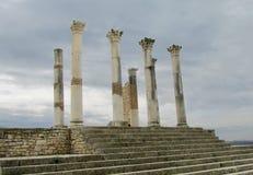 Руины древнего города, Volubilis, Марокко Стоковое Фото